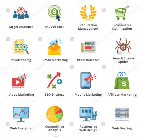SEO Internet Marketing Flat Icons