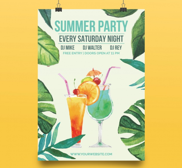 Elegant Summer Party Free Poster Template