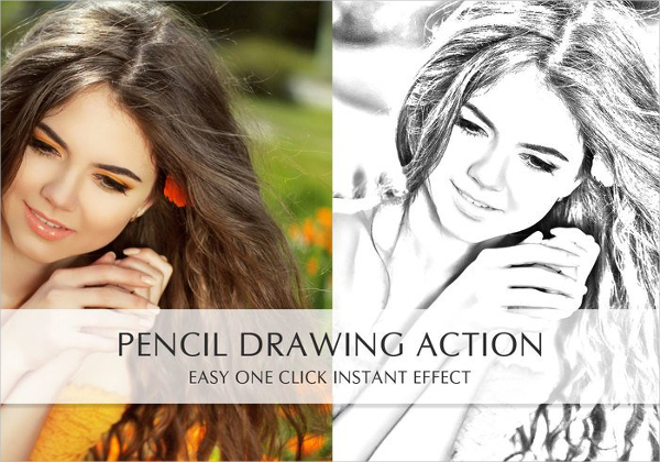 Free pencil drawing photoshop action
