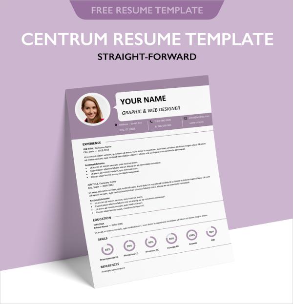 Free Centrum Single Page Resume