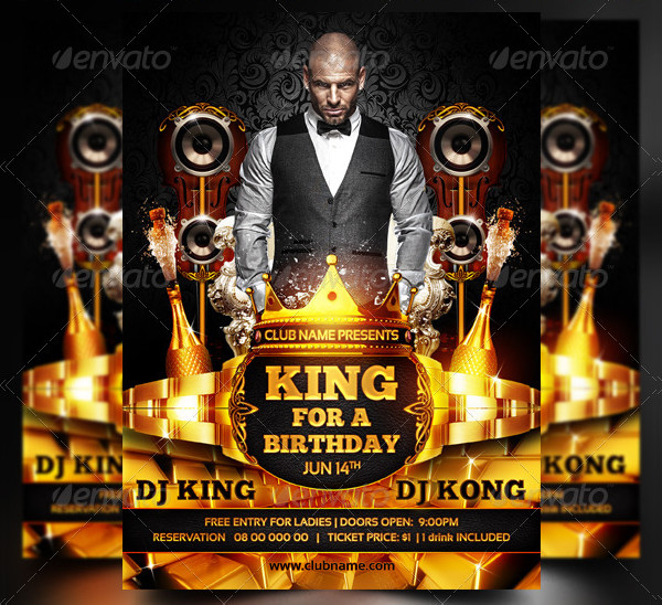 King For A Birthday Party Flyer