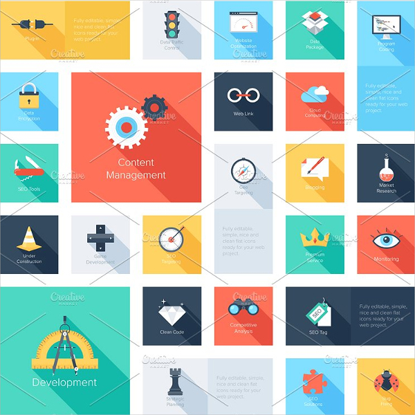 Colorful Flat Search Engine Optimization Icons