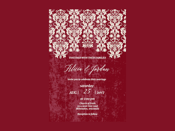 Glamor Lace Wedding Printable Invitations