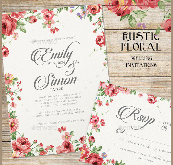 Rustic Floral Wedding Card Invitations Templates