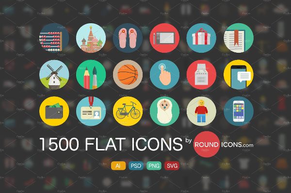 1500 SEO Flat Icons Design Template