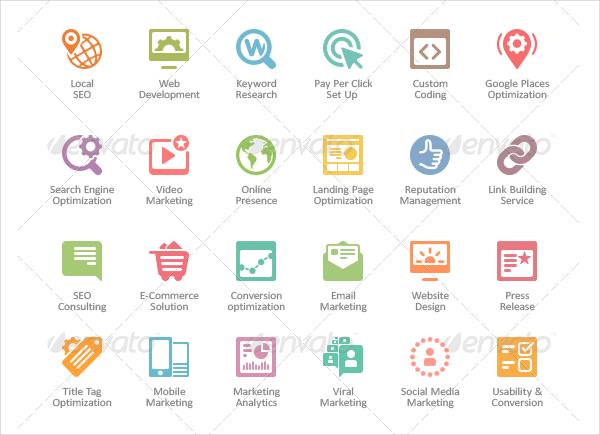 SEO Web Icons Design Template