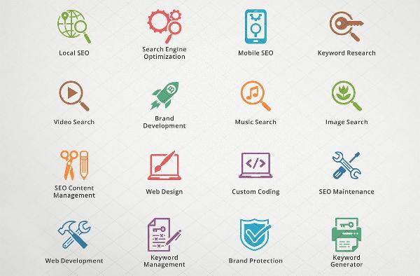 16 SEO Internet Marketing Icons