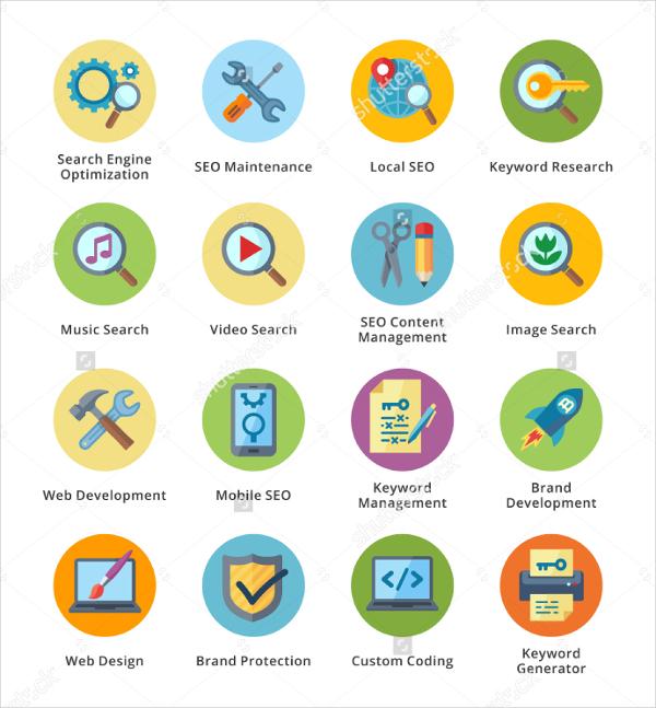SEO Internet Marketing Flat Icons Set