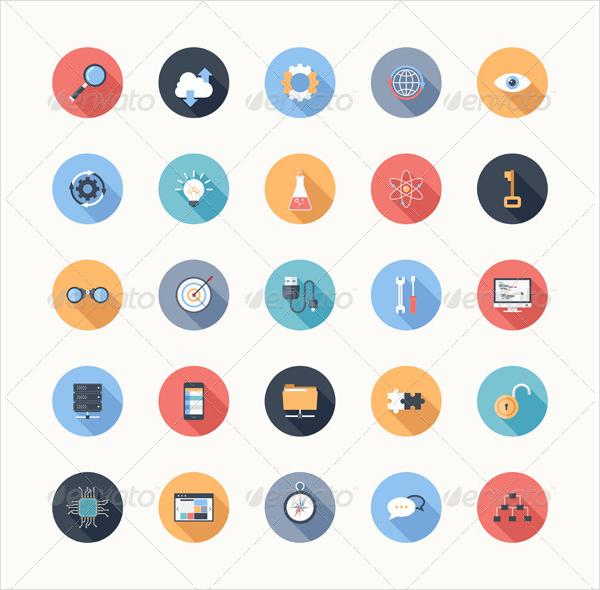 Flat SEO Development Icons Template