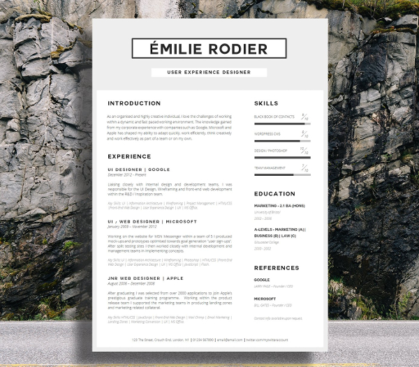Easy to Edit Single Page Resume Template