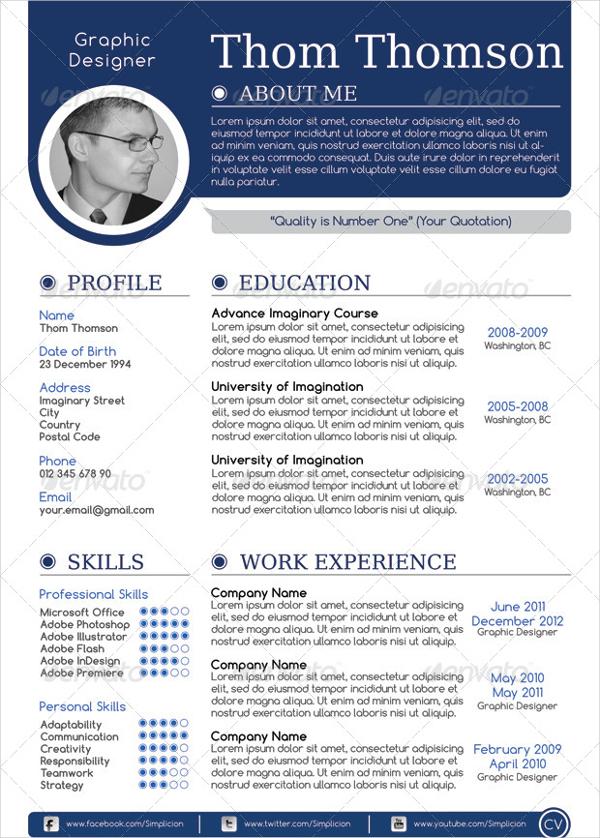 Creative Single Page Resume Template