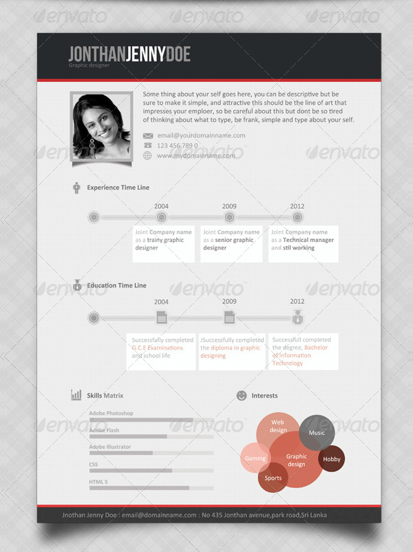 Classic Single Page Resume Template