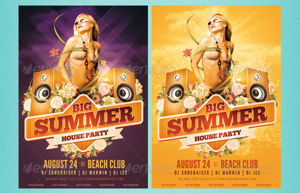 Big Summer Party Poster Template Design