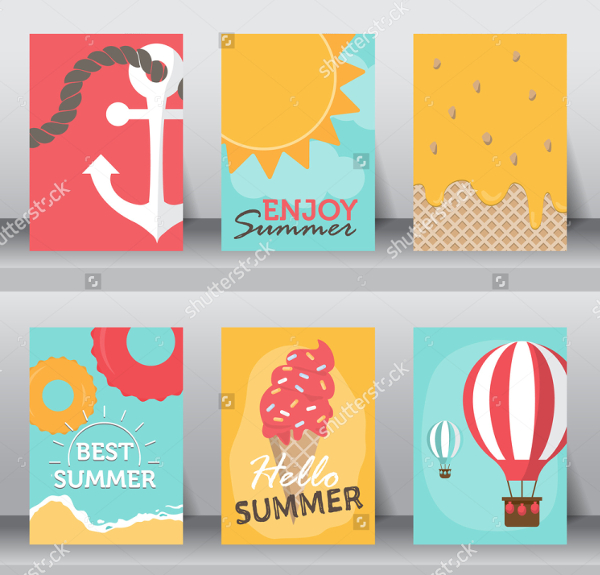 Summer Vacation Poster Set in Flat Design