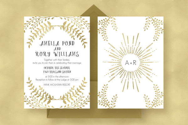 Wedding Gold Background Invitations Suite
