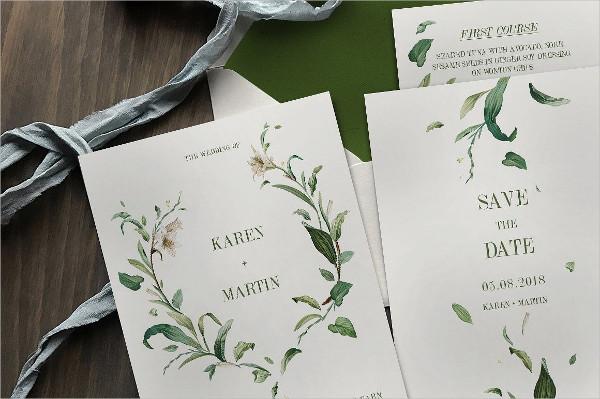 Green Foliage Wedding Package Invitations