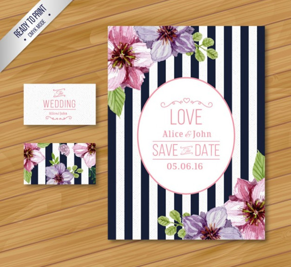 Wedding Party Invitations Card Template