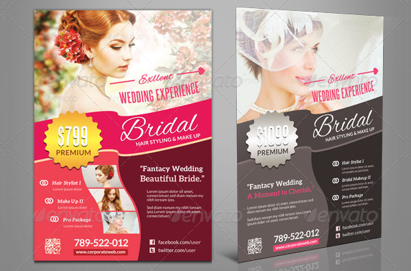 Wedding Bridal hair Stylist Flyer Template