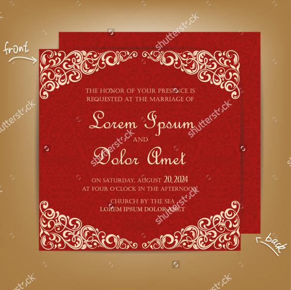 Red Vintage Wedding Design Invitations