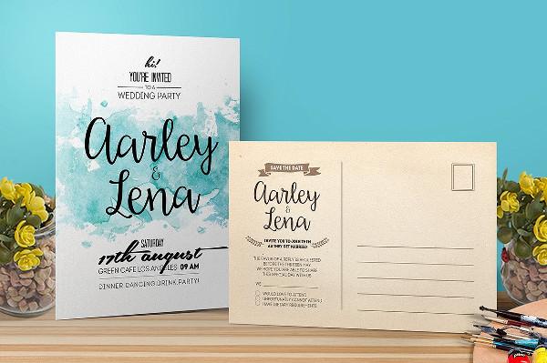 Wedding Watercolor Invitations Template