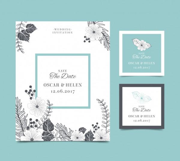 Free Vintage Wedding Flowers Invitations Card
