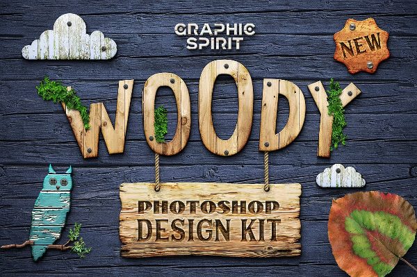 Wood Photoshop Design Kit