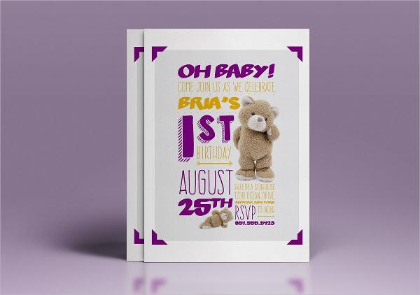 Baby 1st Birthday Invitation Templates