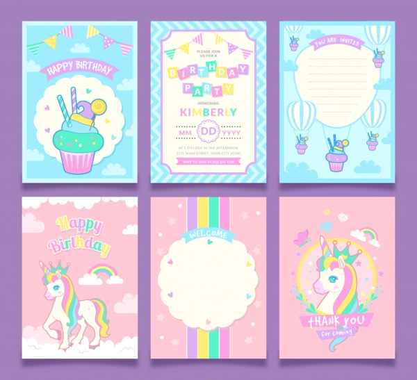 Free Set Of Unicorn Birthday Invitation Template