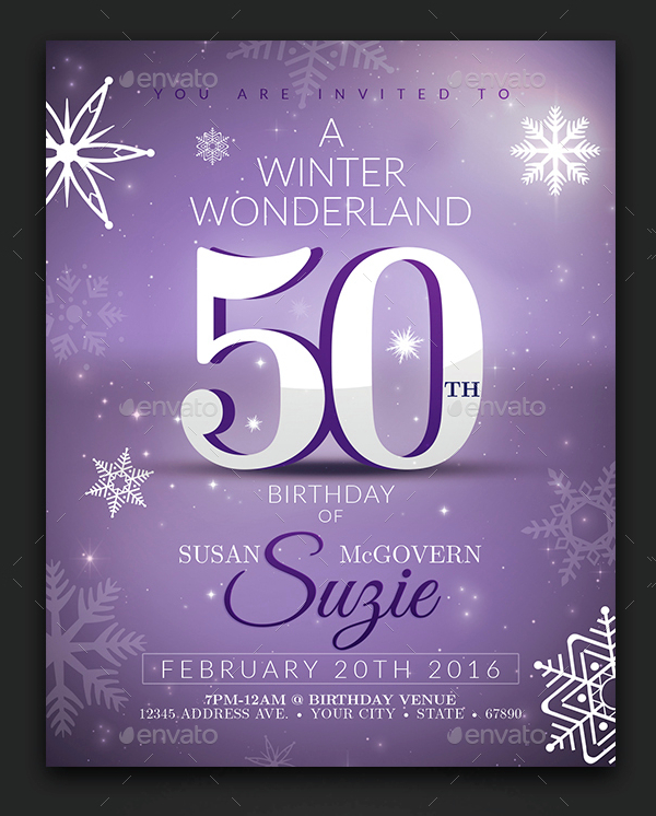 Winter Birthday Party Invitation Template