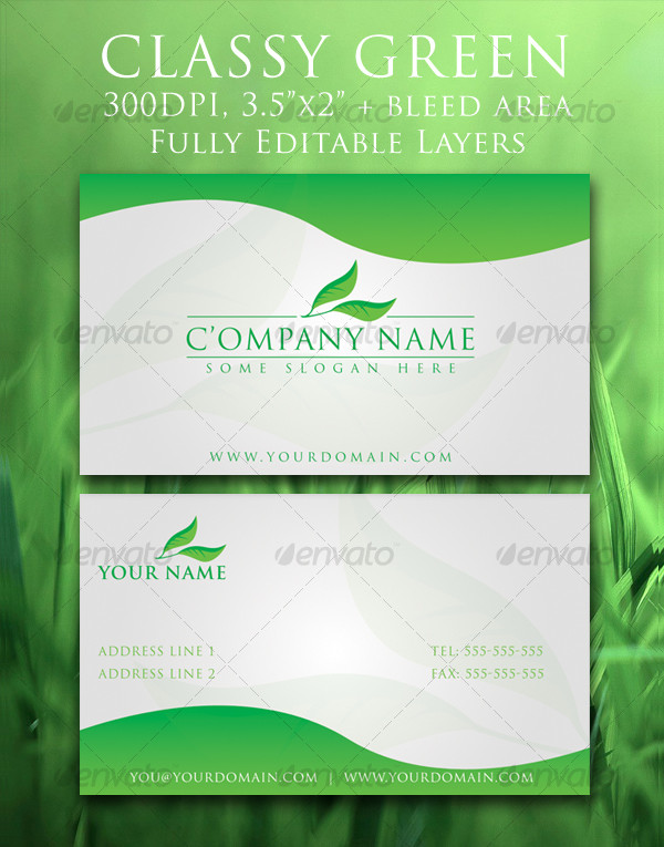 25 classy business cards free premium psd ai illustrator downloads classy green business card template cheaphphosting Images