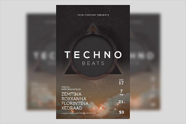Club Techno-Beats-Futuristic Poster