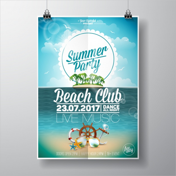 Free Beach Club Party Poster Template