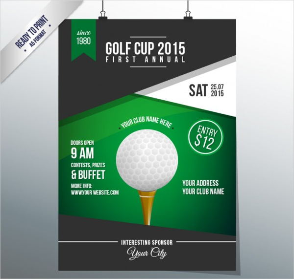 Free Cup Vector Golf Poster Template