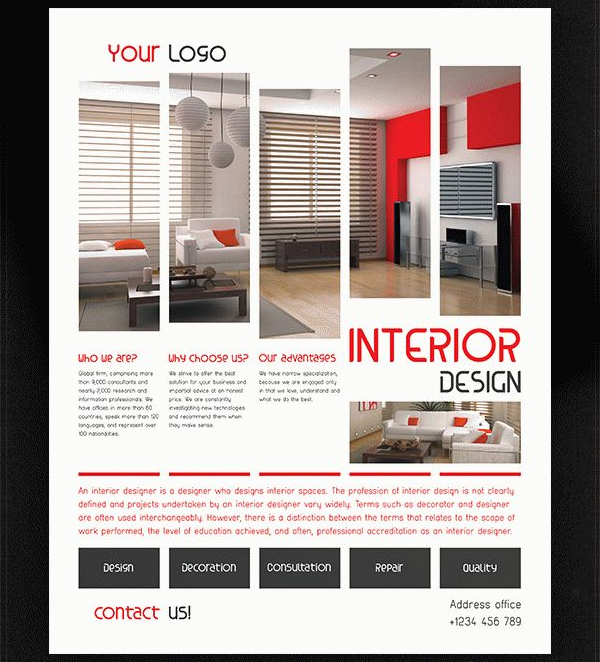 23 interior flyer free premium psd vector png eps ai for Interior design brochure template free