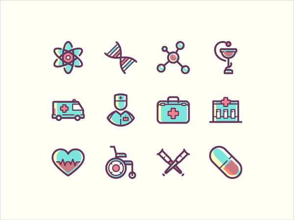 Free Beautiful Medical Icons Vector