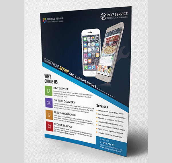 free download mobile repair flyer template