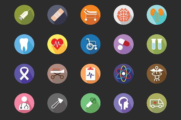100 Medical Flat Color Icon Set