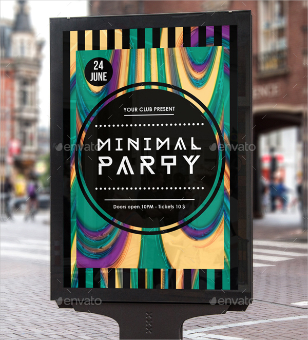 Modern Club Minimal Party Poster Templates