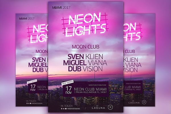 Club Neon City Poster Template