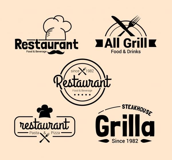 Pack of Restaurant Logos in Vintage Design