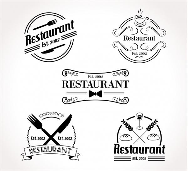 Set of Retro Restaurant Logos Free