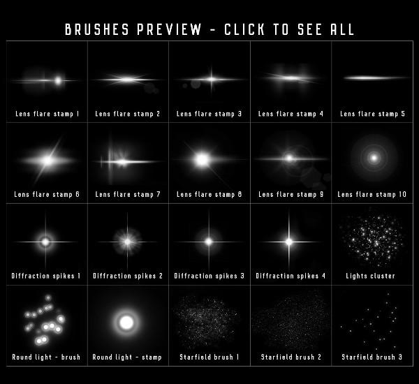 Printable Star Lens Flare Brushes