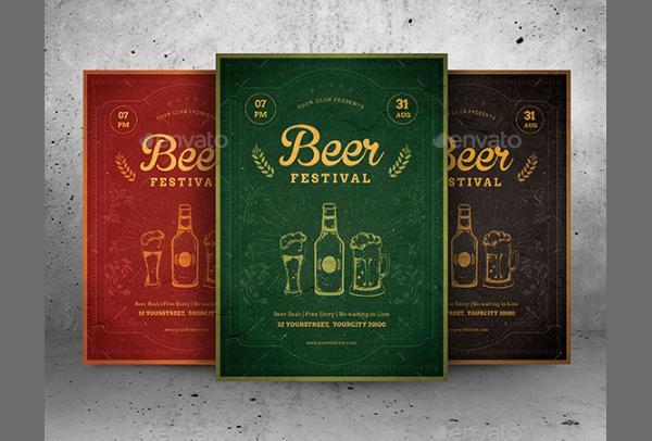 Art Deco Winter Beer Festival Flyer Template