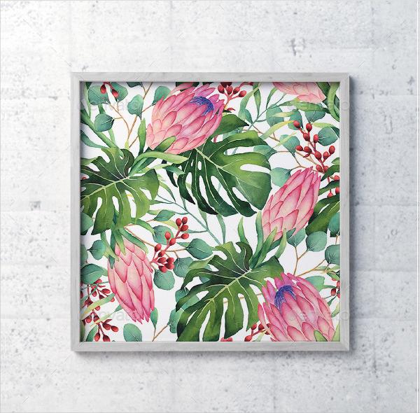 Watercolor Tropical Flowers Pattern