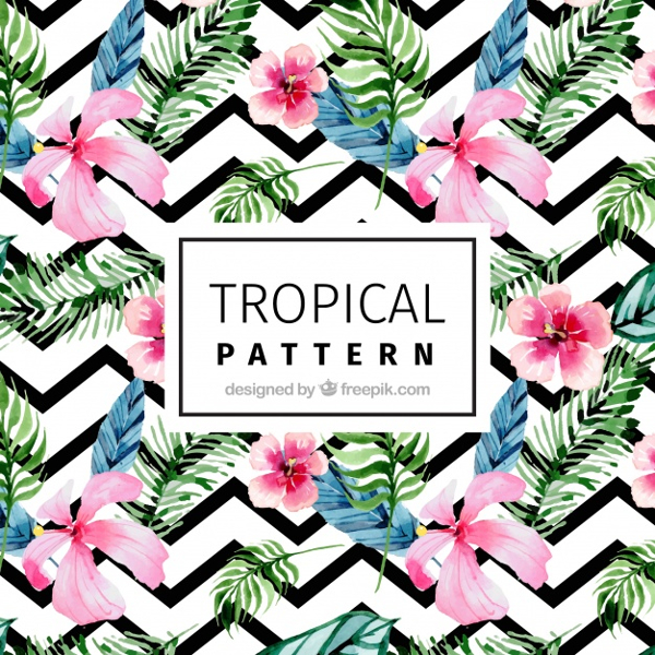 Modern Pattern With Tropical Watercolor Flowers Free Vector