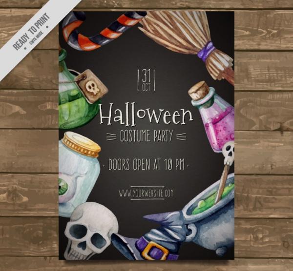 Free Vector Halloween Party Watercolor Flyer