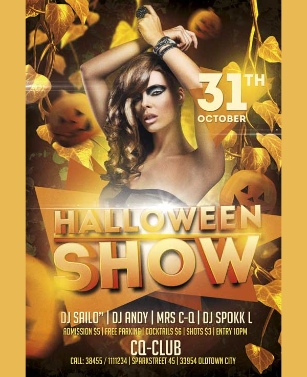 Free Halloween Show PSD Flyer Template