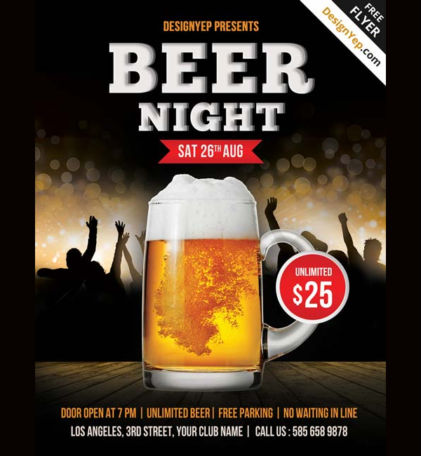 Free Beer Night PSD Flyer Template