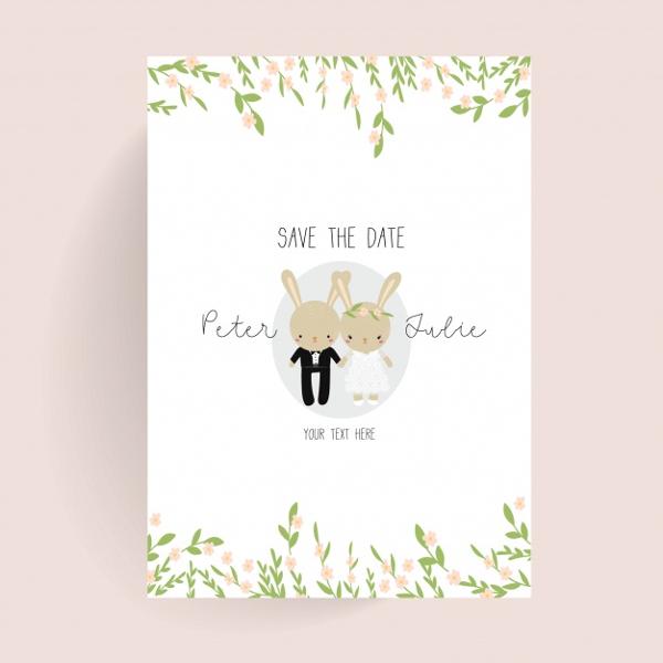 Cute Wedding Poster Free Vector