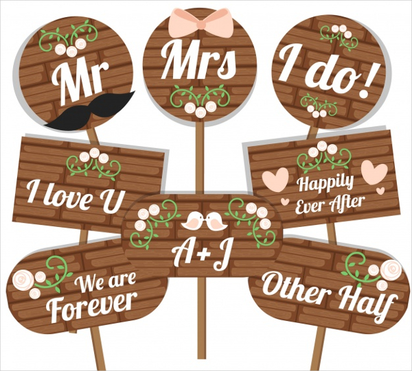 Set Of Wooden Wedding Poster Template Free